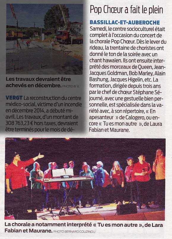 Article sud-ouest concert Bassillac 04